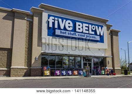 Muncie IN - Circa July 2016: Five Below Retail Store. Five Below is a chain that sells products that cost up to $5 VI