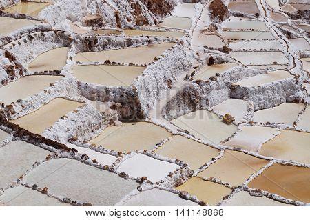 Salt evaporation pond at Maras near Cuzco Peru