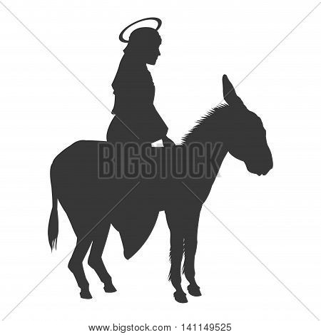 flat design virgin mary riding donkey silhouette icon vector illustration