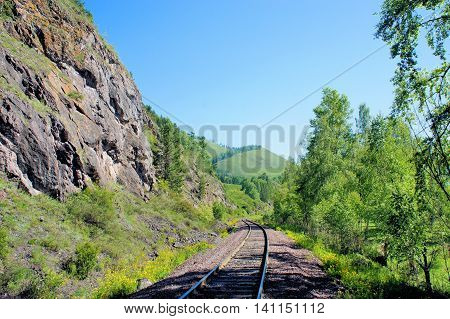 Railway rails and sleepers. The old railway through the forest. Siberia.