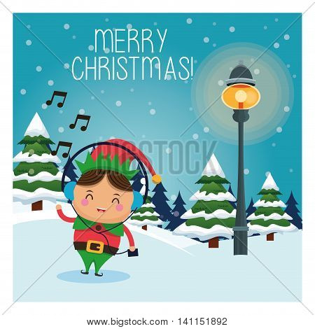 Merry Christmas concept represented by elf cartoon icon over landscape. Colorfull and classic illustration inside frame.