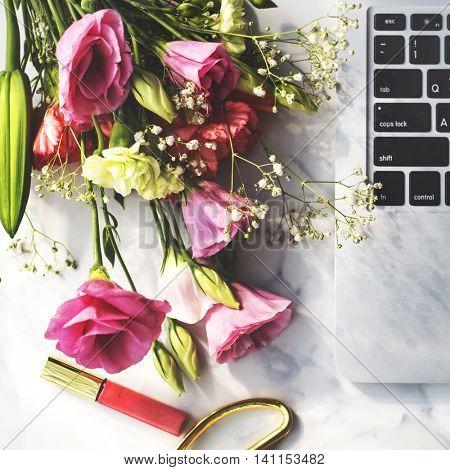 Flower Bouquet Computer Lipgloss Concept