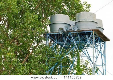 water tank tower at rural in Thailand