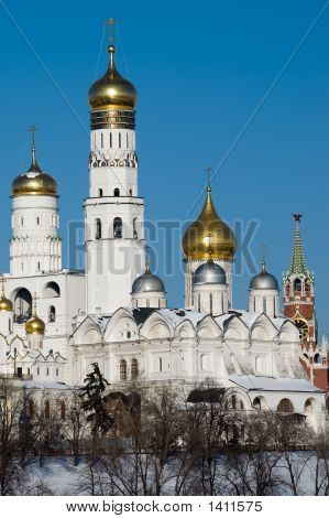 Moscow Kremlin'S Cathedral And Belfry