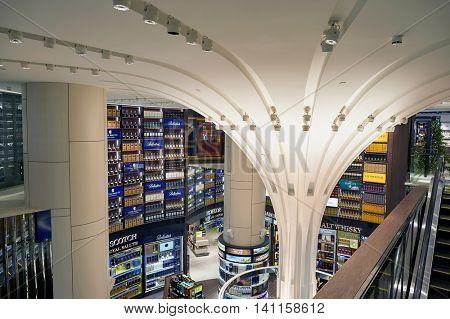 SINGAPORE - CIRCA NOVEMBER, 2015: interior of a store at Singapore Changi Airport. Changi Airport  is the primary civilian airport for Singapore.