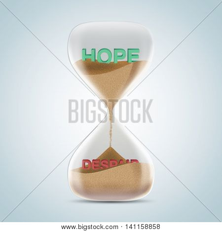 Opposite Wording Concept In Hourglass, Hope Revealed After Sands Fall And Covered Despair Text.