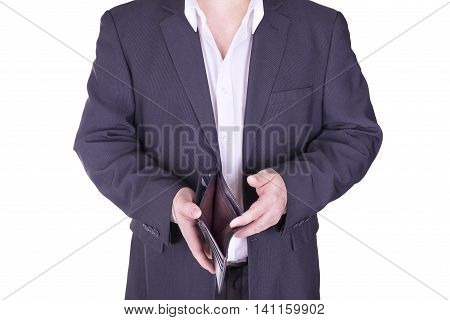 Businessman holding an empty wallet. Isolated on white background.