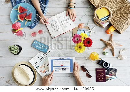 Summer Holiday Booking Beach Vacation Concept