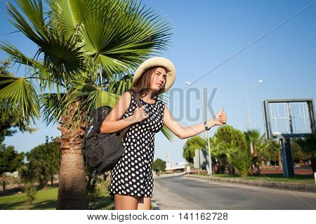Beautiful and young girl stops the car . Around the palm trees and the road . On her head a straw hat and behind the backpack