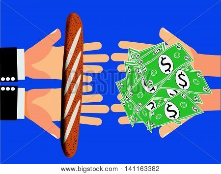 Inflation or price gouging - Hands handing Large Amount of Dollars or Money for a piece of bread or an inexpensive item