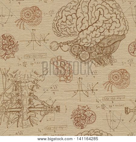 Vintage seamless background with human brain, throat and mechanisms. Hand drawn repeated illustration with body and mechanical parts