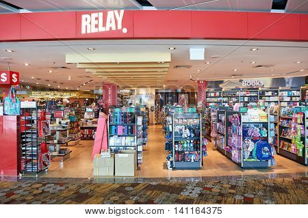 SINGAPORE - CIRCA NOVEMBER, 2015: Relay store at Singapore Changi Airport. Changi Airport  is the primary civilian airport for Singapore and one of the largest transportation hubs in Southeast Asia.