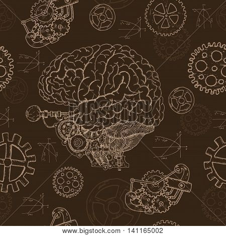 Seamless background with human brain, old mechanism and cogs.  Hand drawn repeated background with human body and mechanical parts
