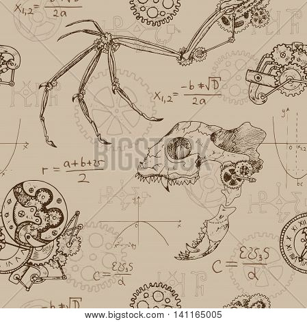 Seamless background with demon skull, fantasy dragon wing and retro mechanism. Scary repeated pattern with animal skeleton and mechanical parts