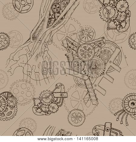 Seamless background with robot hand and mechanism or retro machine. Hand drawn repeated pattern with human body and mechanical parts in steampunk style