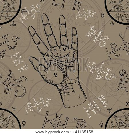 Seamless background with chiromancy symbols and human hand with lines on palms. Hand drawn repeated illustration with esoteric concept