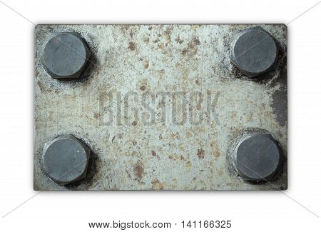 Old and rusty grunge metal plate with rivets isolated on white background