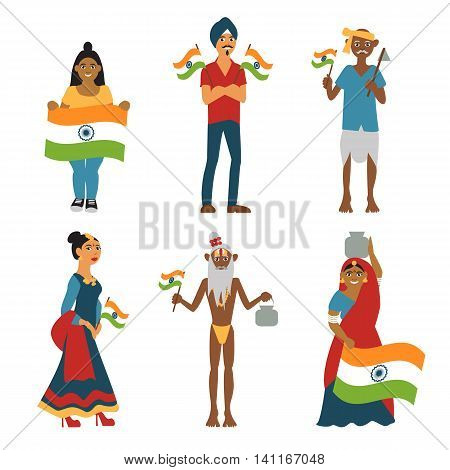 India independence day. Happy Indians celebrate national holiday. Cartoon isolated indian people on white background in traditional dress. Vector eps 10 format.