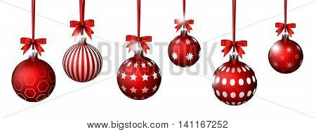collection of Christmas balls with red ribbon hinging, vector