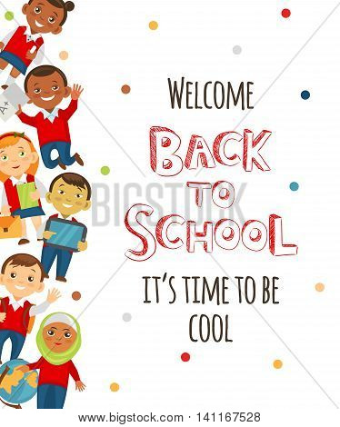 Back to school background with cheerful student. Vector eps 10 format.