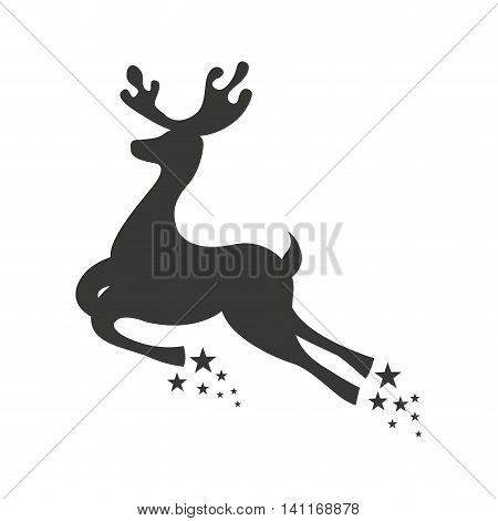 reindeer deer christmas flying icon vector illustration design
