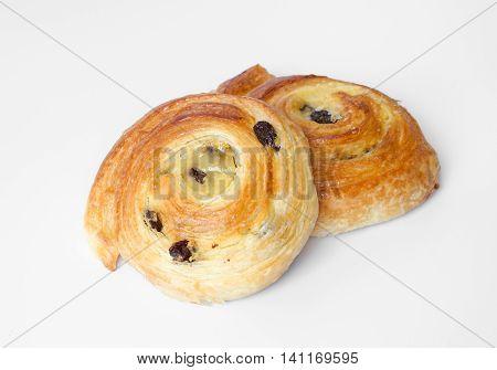 Fresh homemade sweet danish pastries with custard and raisins