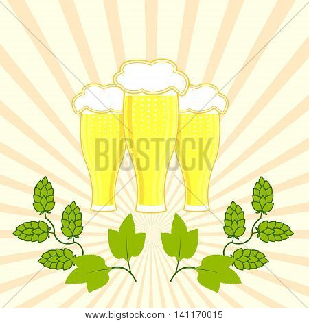 three glasses of fresh beer with foam hat with branches of hops in the background of diverging rays