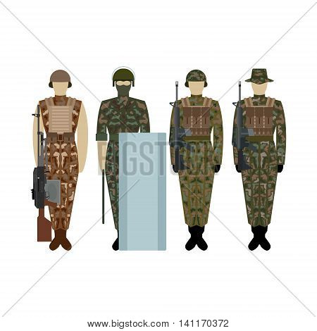 Soldiers in the uniform of the British Army. The illustration on a white background.