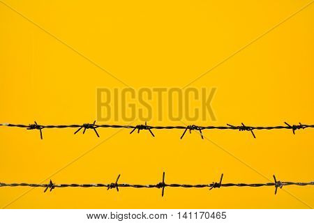 The sign of war. Bared wire silhouette for yellow background.