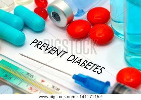 Prevent diabetes. Treatment and prevention of disease. Syringe and vaccine. Medical concept. Selective focus