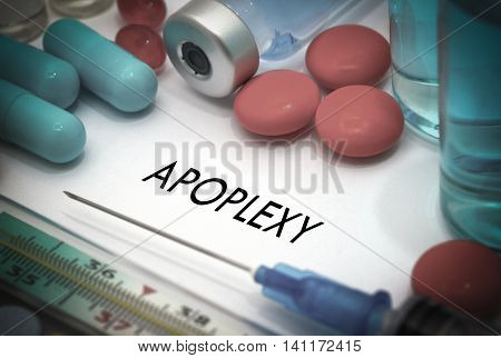 Apoplexy. Treatment and prevention of disease. Syringe and vaccine. Medical concept. Selective focus