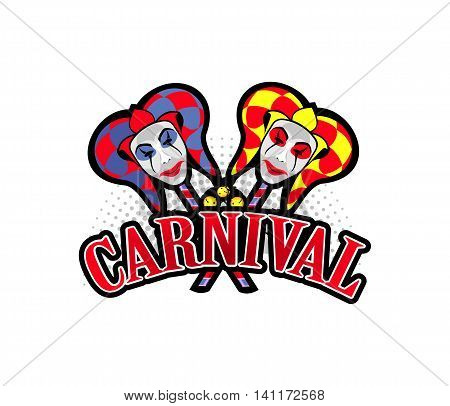 vector illustration of two joker harlequin masks on sticks letters carnival
