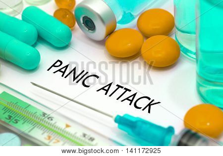 Panic attack. Treatment and prevention of disease. Syringe and vaccine. Medical concept. Selective focus