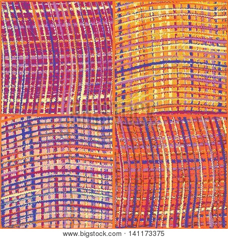 Weave colorful grunge striped checkered quilt seamless pattern
