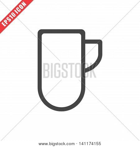 Vector illustration of cup icon on white background. Simple solid black kitchenware image