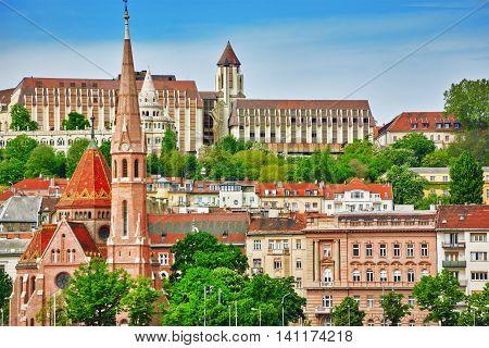 Church Of St. Matthias, Fisherman's Bastion,calvinist Church Shore View's Of The Danube. Budapest. H