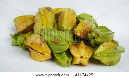 Starfruits: Stack of Star Fruits isolated on bright background
