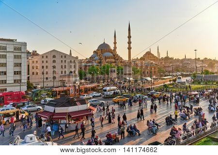 Istambul, Turkey-may 07, 2016: Beautiful Landscape Urban View,city Streets,people,architecture Of Th