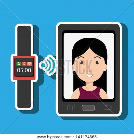 smartphone and watch device with a cartoon woman in the screen with media icon over pattern background