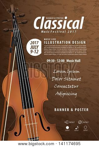 Violin, Musical Instrument Design Realistic Style And A4 Poster Music Festival Layout For Commercial