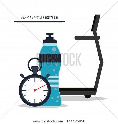 Healthy lifestyle and Fitness concept represented by running machine bottle and chronometer icon. Isolated and flat illustration.