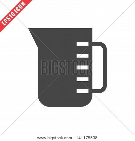 Vector illustration of measuring cup icon on white background. Simple solid black kitchenware image