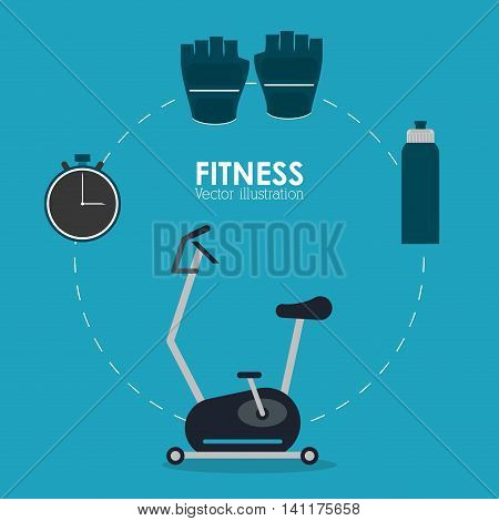 Healthy lifestyle and Fitness concept represented by machine gloves chronometer and bottle icon. Colorfull and flat illustration.