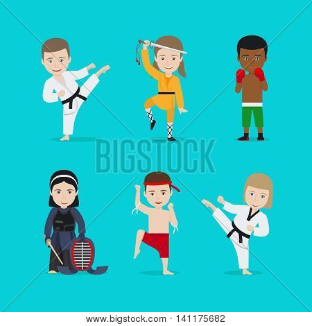 Kids martial arts vector illustration. Karate girl and boxing boy