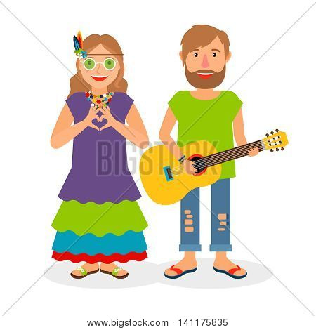 Hippie love couple. Woman and man with guitar vector illustration