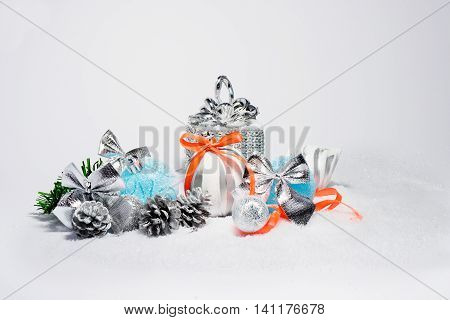 Christmas trendy decorations. New Year 2016 colorful decor