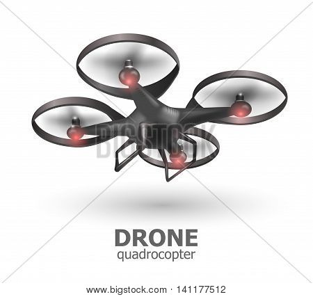 Realistic remote air drone quadrocopter flying on white background. Isomertic view. Vector illustration EPS10
