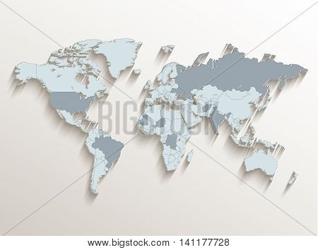 World political map white blue 3D vector