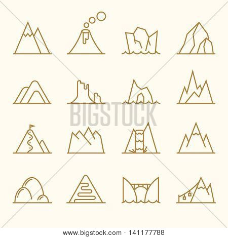 Mountain line elements vector set. Mountains nature icons, rock peak landscape illustration