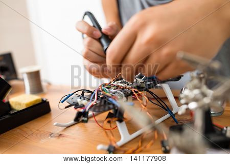 Welding the wire on drone at home
